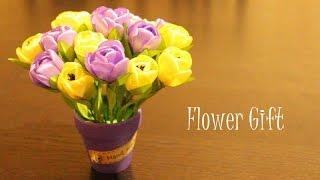 Подарок из Лент Своими Руками / Канзаши Мастер Класс / Цветы из Лент
