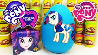 MY LITTLE PONY GIANT PLAY DOH SURPRISE EGG 2015 McDONALD'S HAPPY MEAL TOYS AND EQUESTRIA GIRLS DOLLS