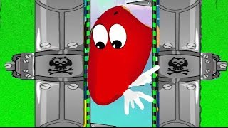 Красный шарик попал под прессы в игре про RED BALL 3.