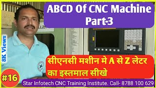 Learn CNC part 16 / CNC की A, B, C, D सीखे / आओ CNC सीखे भाग 16 / meaning of  A to Z in CNC machine