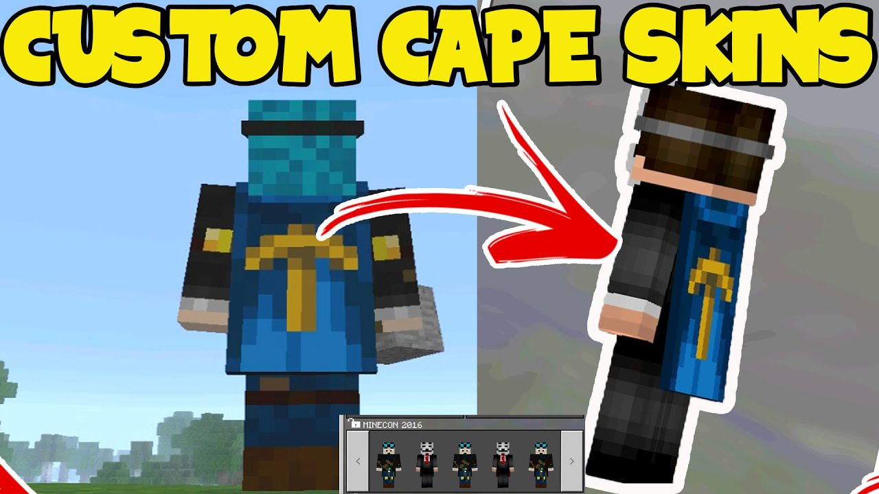CUSTOM CAPE SKINS Minecraft PE Pocket Edition CAPES How To - Skin para minecraft pe edition