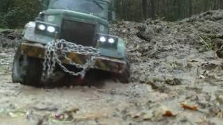 rc axial scx10 6x6 kraz 255 logging truck de schans
