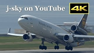 [4K] UPS vs. FedEx - MD-11, B767, B777 at Kansai Airport / 関西国際空港 [DMC-FZH1]