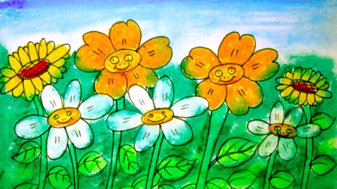 How to draw a flower garden| A Scenery of flower garden ...