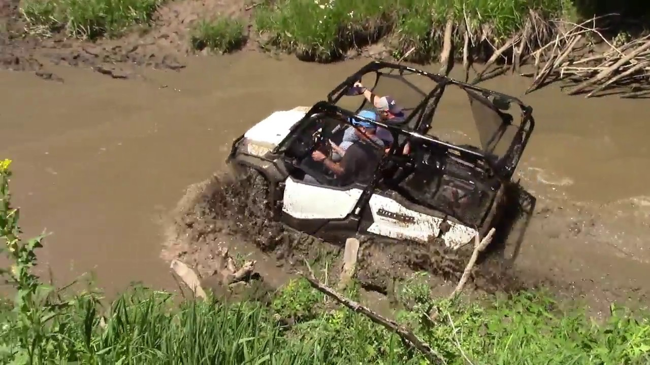honda pioneer   stuck  mud  talsma trail park youtube
