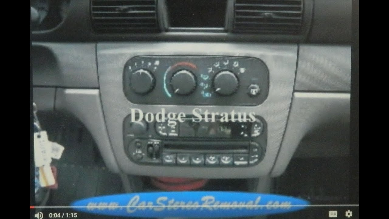 Dodge Stratus Stereo Removal Youtube 1997 Radio Wiring