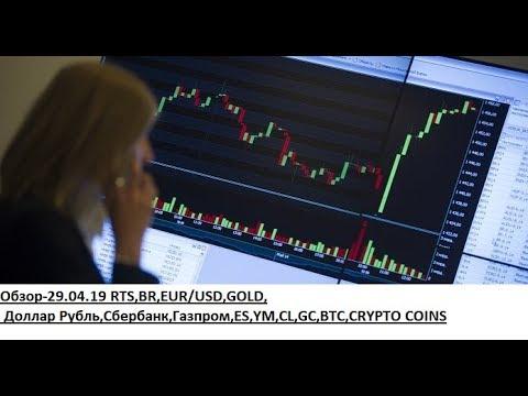 Обзор-29.04.19 RTS,BR,EUR/USD,GOLD, Доллар Рубль,Сбербанк,Газпром,ES,YM,CL,GC,BTC,CRYPTO COINS