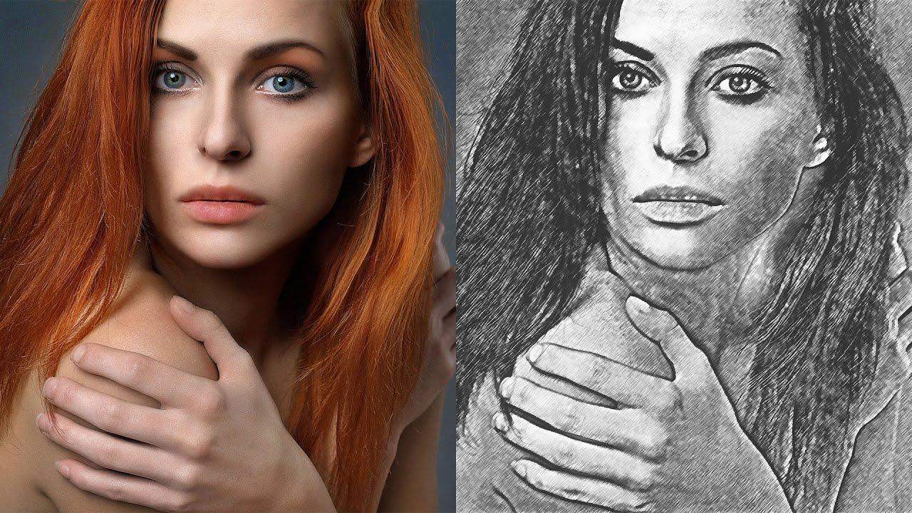 Artistic pencil sketch effect change photos into crayon pencil drawing photoshop tutorial
