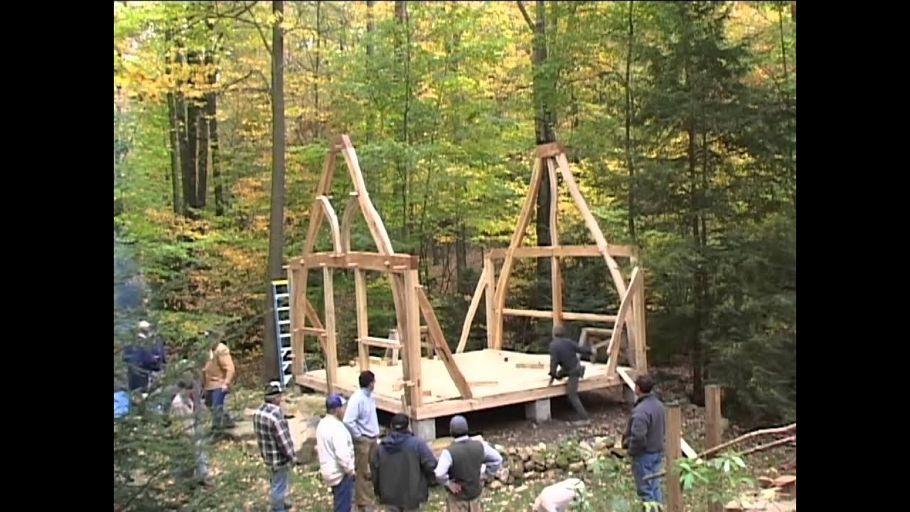 the sweetgrass joinery co summer house cruck frame raising youtube