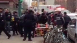 Raw: NYPD Shooting Suspect Taken to Ambulance