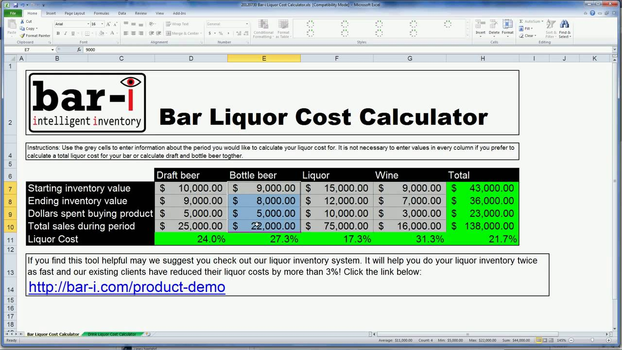 Liquor cost formula how to youtube for Free cost to build calculator
