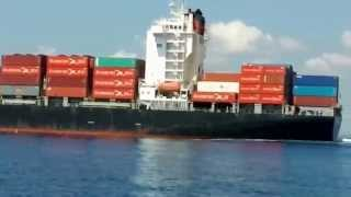 Cargo Ship CCNI VALPARAISO Leaving Fort Lauderdale Port (formerly Northern Delegation)