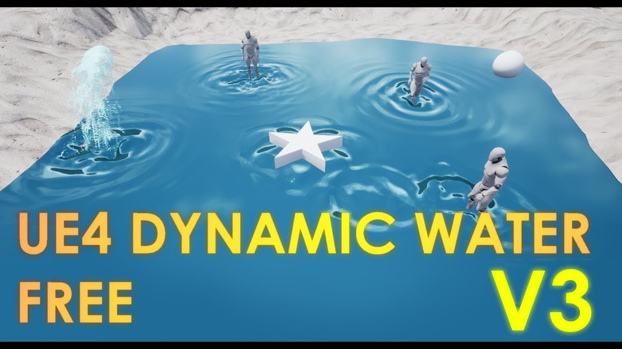 FREE Unreal Engine 4 Reactive Dynamic Water V3 Project Download [UE4 20]