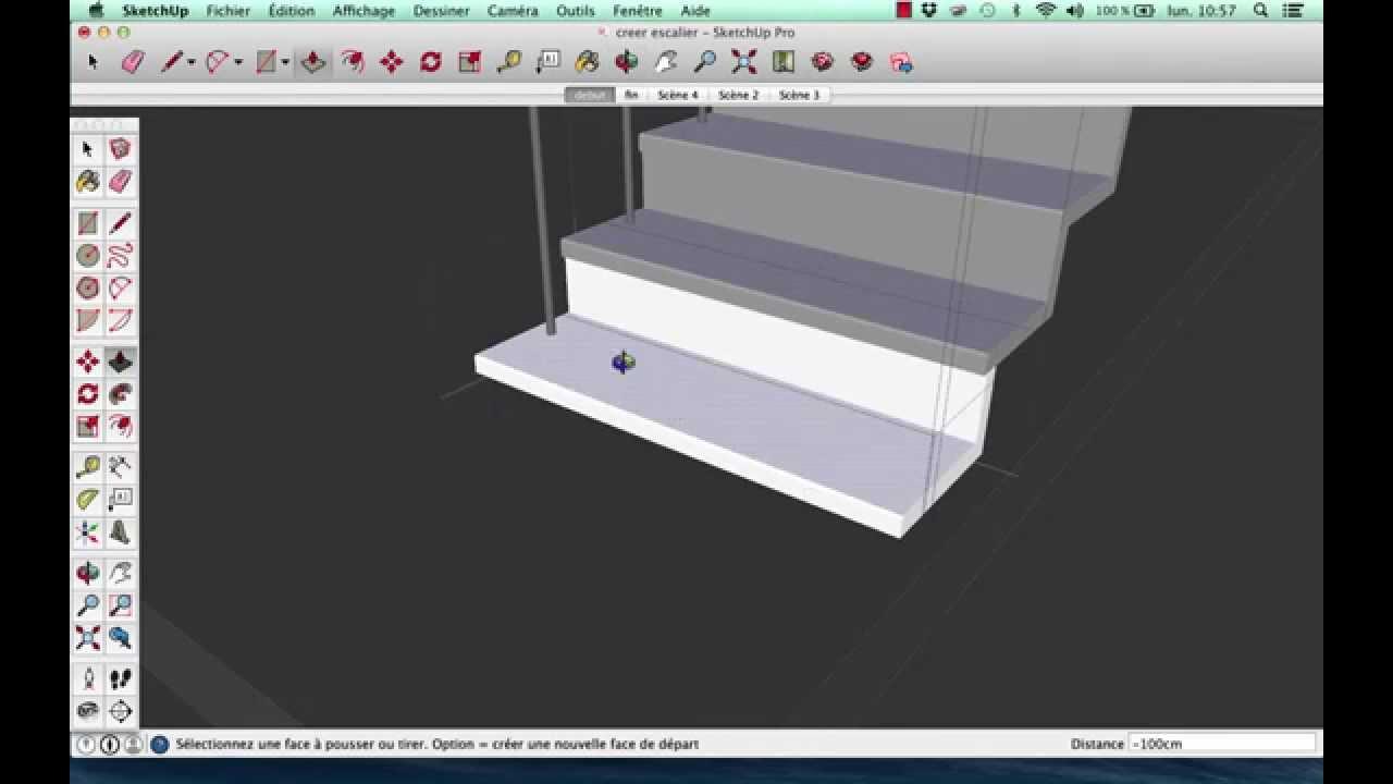 modeliser rapidement dans sketchup un escalier et main. Black Bedroom Furniture Sets. Home Design Ideas