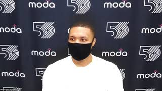 Blazers Damian Lillard talks about sending Pat Beverley and PG home after their loss to the Clippers