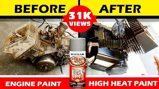 Paint Your Motorcycle Engine at Home | Using High Heat Primer Paint Rustoleum