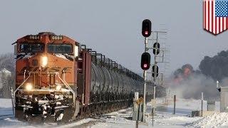 Massive explosion after crude oil train collision
