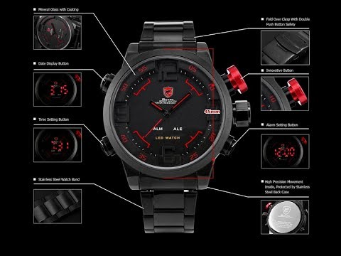 REVIEW SHARK SH105 Analog Digital LED black Quartz Wrist Military Watch by AliExpress Forocoches