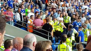 Liverpool fans being kicked out of Cardiff's Canton Stand.