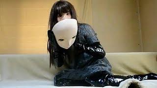 female mask kigurumi doll  black latex boots&gloves zentai girl