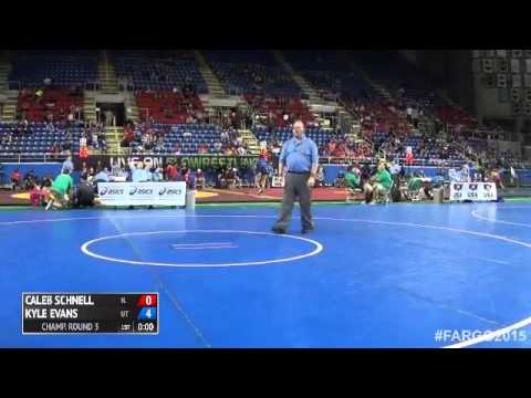 132 Champ. Round 3 - Kyle Evans (Utah) vs. Caleb Schnell (Illinois)