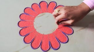 Very easy rangoli design for beginners for this festive season
