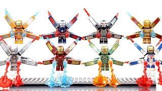 Iron Man Hall of Armor War Machine & Iron Patriot w/ Power Burst Element Unofficial LEGO Minifigures