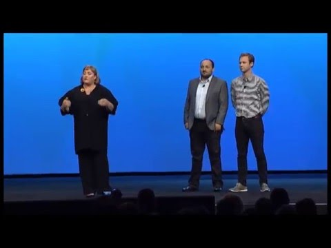 Intel President Renée James at IDF 2012 w/ Mob Base and Scott Reitherman (Throw Me The Statue)