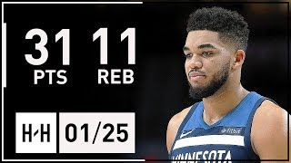 Karl-Anthony Towns Full Highlights Timberwolves vs Warriors (2018.01.25) - 31 Pts, 11 Reb, 5 Ast