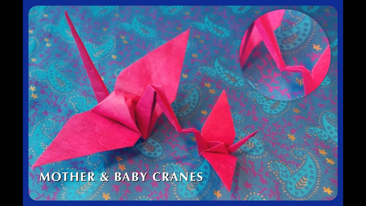 How to make origami mother baby cranes connected paper cranes how to make origami mother baby cranes connected paper cranes jeuxipadfo Choice Image