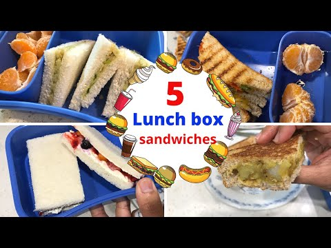 5 LUNCH BOX Sandwiches ( For Kids = 4 To 8 Year Olds ) - School Lunch Ideas For Kids