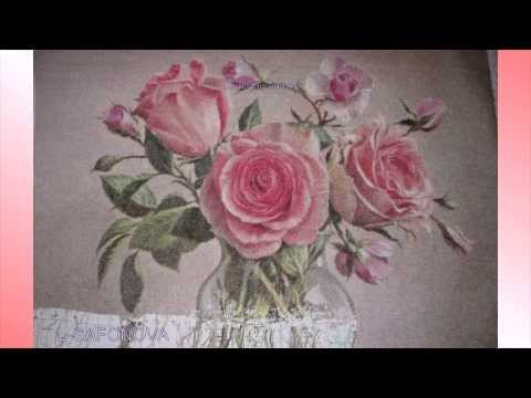 Вышивка Цветы в стеклянной вазе. Дизайнер - Лена Gerdamoon. Музыка- Joe Dassin