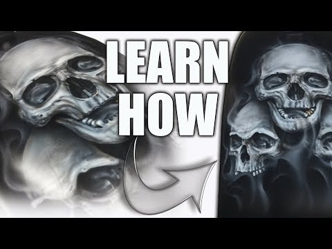 Learn How to Airbrush 'Triple Skulls' and Smoke Flames