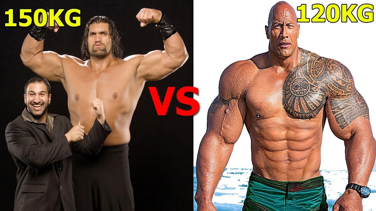 2 Gã Khổng Lồ Cao 2m16 vs 1m96 Của Sàn Đô Vật Mỹ   Ai Bá Hơn ?   The Rock Johnson vs The Great Khali