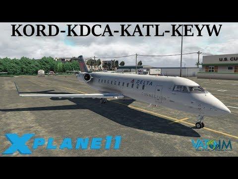 X-Plane 11 | Shared Cockpit with Knight!!! | KORD-KDCA-KATL-KEYW | B737 Crj-200 | VATSIM | River Vis