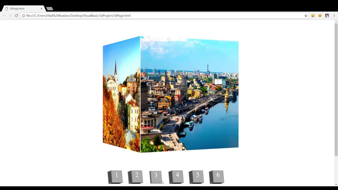 3d cube with images(using CSS, HTML, and JQuery) - YouTube