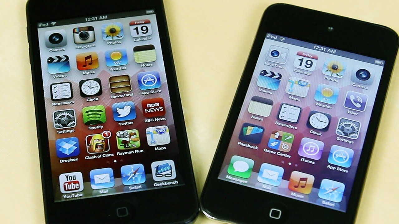 Apple iPod Touch 5th Gen vs 4th Gen Comparison - YouTube