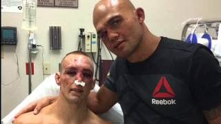 UFC 189 : Rory Macdonald  and Robbie Lawler at Hostpital after UFC 189 Fight  #sporttalkwithkasuwell