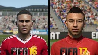 FIFA 17 vs FIFA 16 Manchester United Faces Comparison