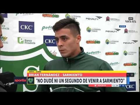 """Brian Fernández: """"Estar en Sarmiento es como arrancar de nuevo"""""""