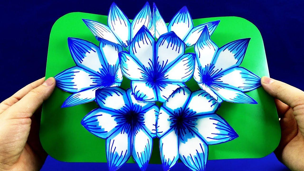 Оригами открытка с 3д цветком, крещением