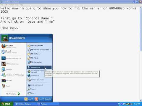 "how to fix the msn error ""(80048820)"" 100%works"