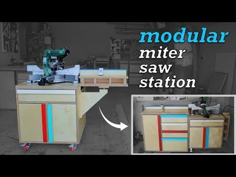 DIY Mobile Miter Saw Station | Modular, Storage, Free Plans