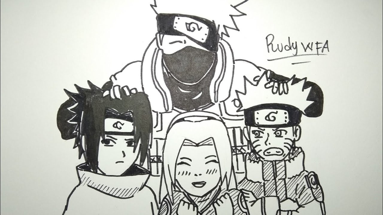 Menggambar team 7 naruto sasuke sakura dan kakashi how to draw team 7 kakashi