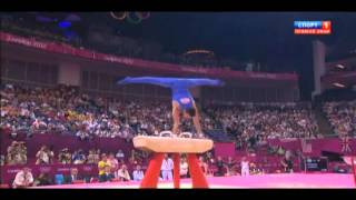 Pommel horse - DSA to handstand,3/3 travel,360 turn to flairs (G)