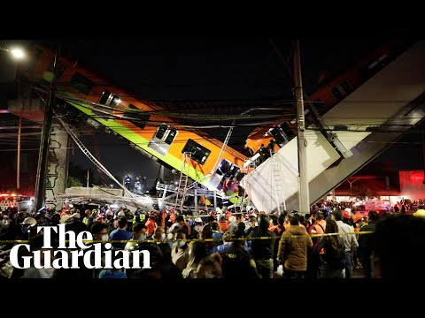 Mexico City metro overpass carrying train carriages collapses