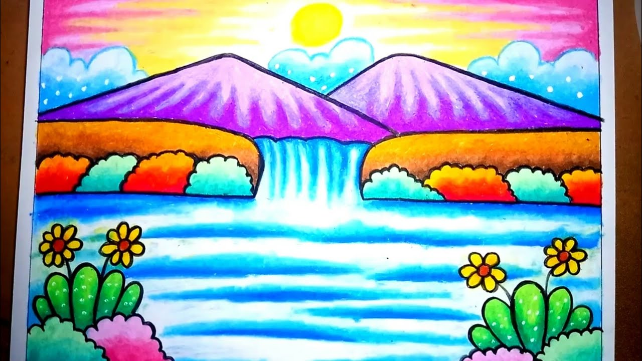 Cara Menggambar Dan Mewarnai Pemandangan Air Terjun Dan Gunung Mudah Untuk Anak