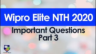 Important questions for Wipro NTH 2020 exam Part 3 !