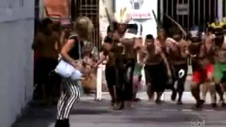 prank Indians in the alley in Brazil