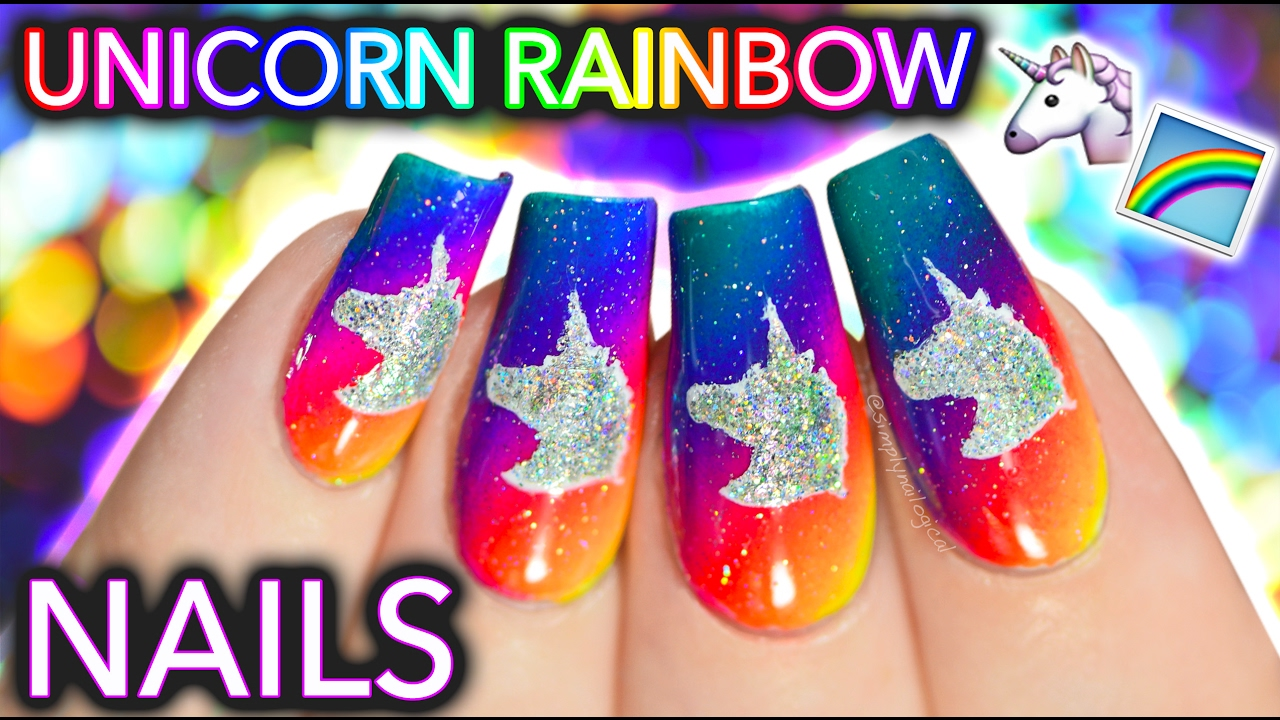 Unicorn Rainbow Nail Art (now u can ride my nails) - YouTube